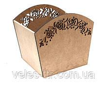 Корзинка Цветочный орнамент 25х20х22 см МДФ заготовка для декора