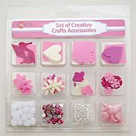 Набор декоративных украшений для скрапбукинга, 12шт/уп, розовый 952083