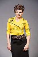 Модный женский укороченный пиджак-косуха