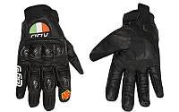 Мотоперчатки ,  закрытые  Carbon, кожа, протектор усилен (р-р  XL, XXL) , (black- blue)