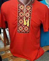 Красная мужская футболка вышитая  303 САК