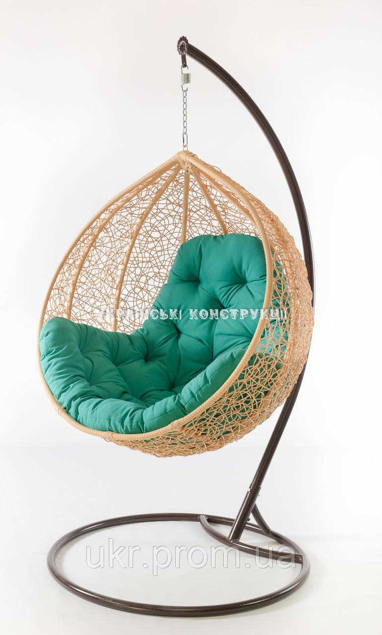 Подвесное кресло кремовое(подушка бирюза)