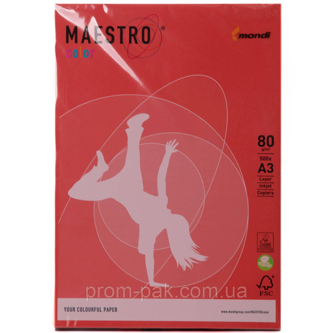 Цветная бумага Maestro А3 г/м² 80 интенсив коралово - красный