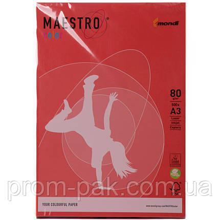 Цветная бумага Maestro А3 г/м² 80 интенсив коралово - красный, фото 2
