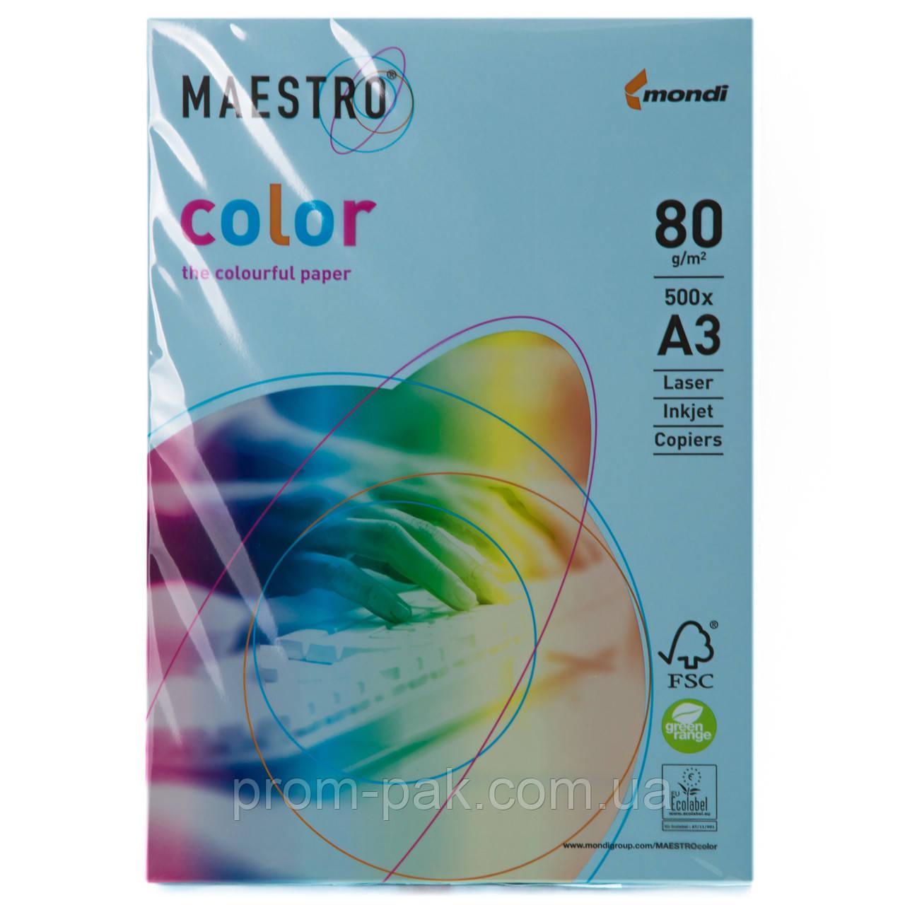 Цветная бумага Маэстро А3 г/м² 80 пастель голубой