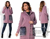 Пальто женское с накладными карманами ДВ/-1550