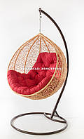 Подвесное кресло кремовое(подушка красная)