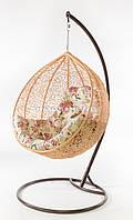 Подвесное кресло кремовое(подушка розы)