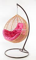 Подвесное кресло кремовое(подушка розовая)