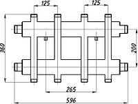 Коллектор двухбалочный (125) 2+2 выхода