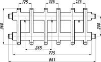 Коллектор двухбалочный (125) 3+3 выхода