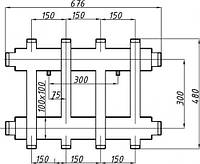 Коллектор двухбалочный (150) 2+2 выхода