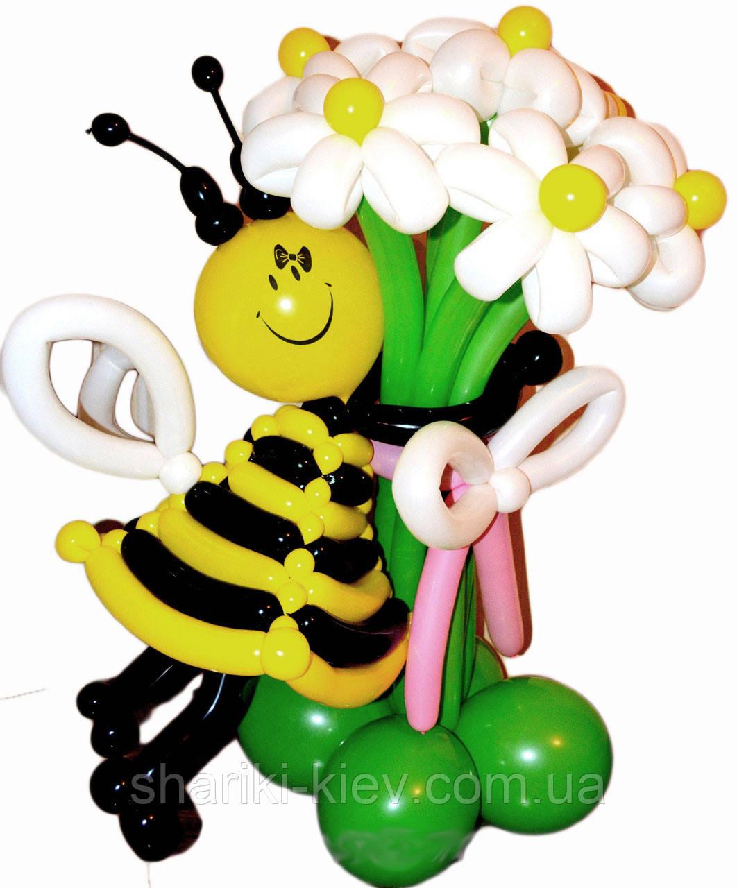 Букет из шариков Пчелка с ромашками на День Рождения - Магазин Шариков и Товаров для праздника Кids шарики Киев  в Киеве