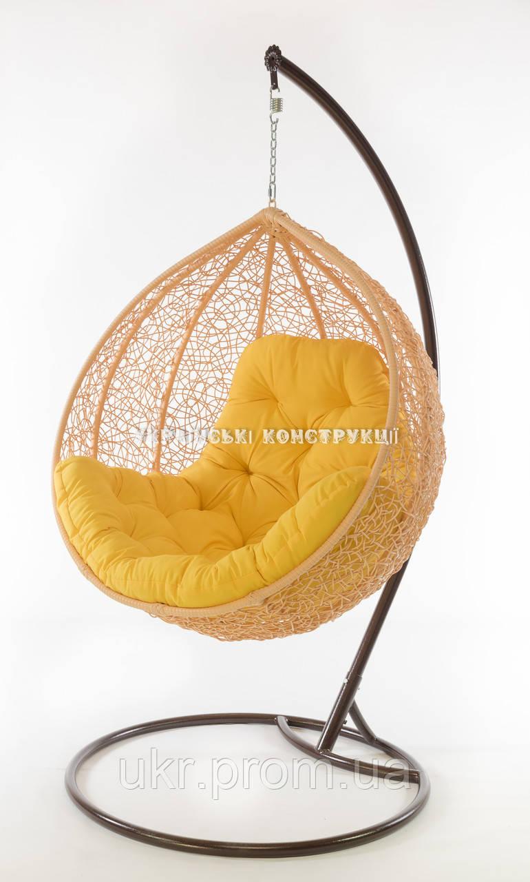 Подвесное кресло кремовое (подушка желтая)