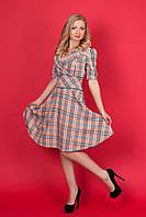 Женственное платье солнце-клёш в модную клеточку