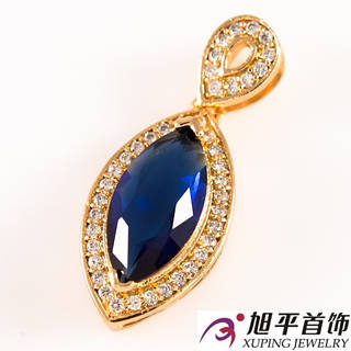 Кулон позолота 'Узк. овальн. камень-синий, в опр. мелких камней'
