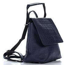 Отличный женский рюкзак из искусственной кожи под рептилию синего цвета, фото 3