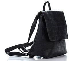 Отличный женский рюкзак из искусственной кожи под рептилию черного цвета, фото 3