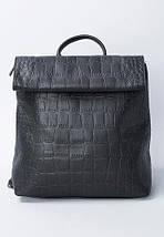 Отличный женский рюкзак из искусственной кожи под рептилию черного цвета, фото 2