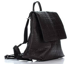 Отличный женский рюкзак из искусственной кожи под рептилию шоколадного цвета, фото 3