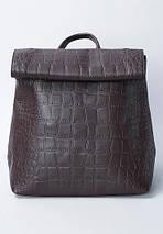 Отличный женский рюкзак из искусственной кожи под рептилию шоколадного цвета, фото 2