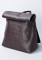 Отличный женский рюкзак из искусственной кожи под рептилию шоколадного цвета