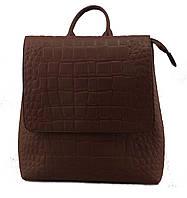 Отличный женский рюкзак из искусственной кожи под рептилию коричневого цвета