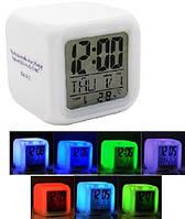 Электронные настольные часы с термометром LED Color Changing Glowing Alarm Thermometer Digital Clock