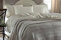 """Шикарный кружевной комплект тм """"Gellin Home"""" с вязанным покрывалом белого цета"""
