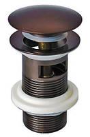 Донный клапан  для сифонов WELLE темная бронза полуавтомат