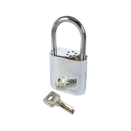 Замок навесной с сигнализацией №103 хром, лазерный ключ.