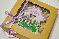 Корпоративная выпечка к 8 марта - расписной медовый имбирный пряник в подарочной упаковке ( брендирование), фото 1