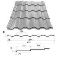 Металлочерепица VALENCIA™ (Валенсия) – металлочерепица для требовательных. 0,45 мм. - 0,5 мм. Сталекс, Штампованная, RAL 7004, 1190.0