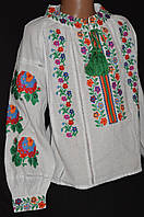 """Красивая блуза-вышиванка для девочки """"Бабусины цветочки"""", дом. полотно,92-158 рост,360/330 (цена за 1 шт+30гр)"""