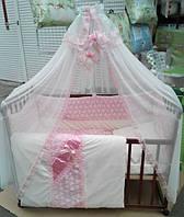 """Постельный набор в детскую кроватку """"Bonna Lux"""" розовый"""