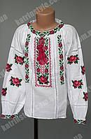 """Сорочка-вышиванка """"Розы"""" для девочек с мережкой и воротником стойкой"""