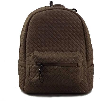 Плетеный женский рюкзак из искусственной кожи коричневого цвета, фото 2