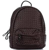 Плетеный женский рюкзак из искусственной кожи шоколадного цвета