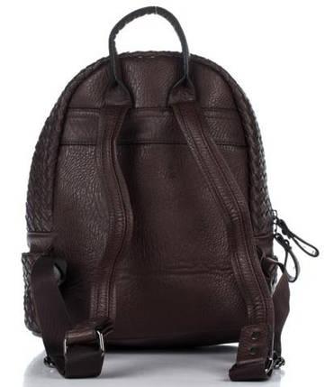 Плетеный женский рюкзак из искусственной кожи шоколадного цвета, фото 2