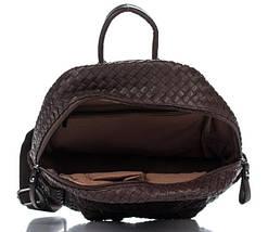 Плетеный женский рюкзак из искусственной кожи шоколадного цвета, фото 3