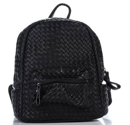 Плетеный женский рюкзак из искусственной кожи черного цвета, фото 2