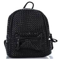 Плетеный женский рюкзак из искусственной кожи черного цвета