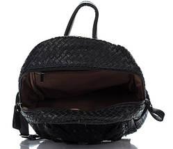Плетеный женский рюкзак из искусственной кожи черного цвета, фото 3