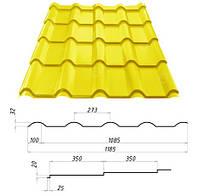 Металлочерепица AFINA™ (Афина) - надежность и изящество. 0,45 мм. - 0,5 мм. Сталекс, Штампованная, RAL 1003, 1185.0
