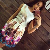 """Стильное молодежное платье мини """" Жаккард Тюльпаны """" Dress Code"""