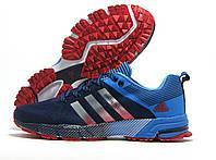 Кроссовки мужские Adidas Flyknit темно-синий с голубым (адидас флайнит)