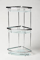 Полочка для ванной угловая тройная со стеклом 19x19