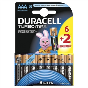 Батарейка  DURACELL LR03 Turbo Max 1x(6+2)