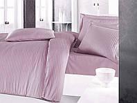 Постельное белье Sateen Strip семейный (ТМ CLASY), сиреневый Турция
