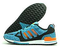 Кроссовки мужские Adidas Flyknit ZX 750 бирюзовые (адидас флайнит)
